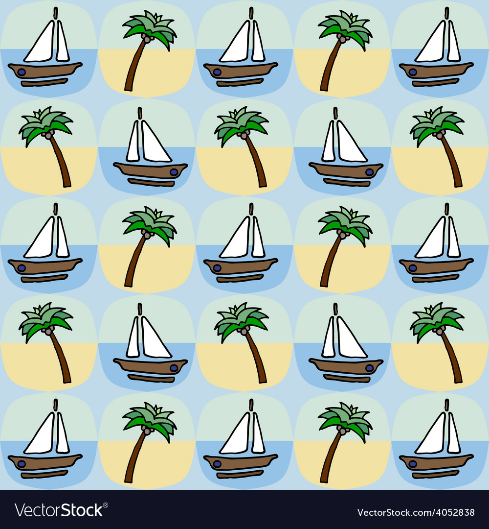 Palm and boat seamless pattern vector | Price: 1 Credit (USD $1)