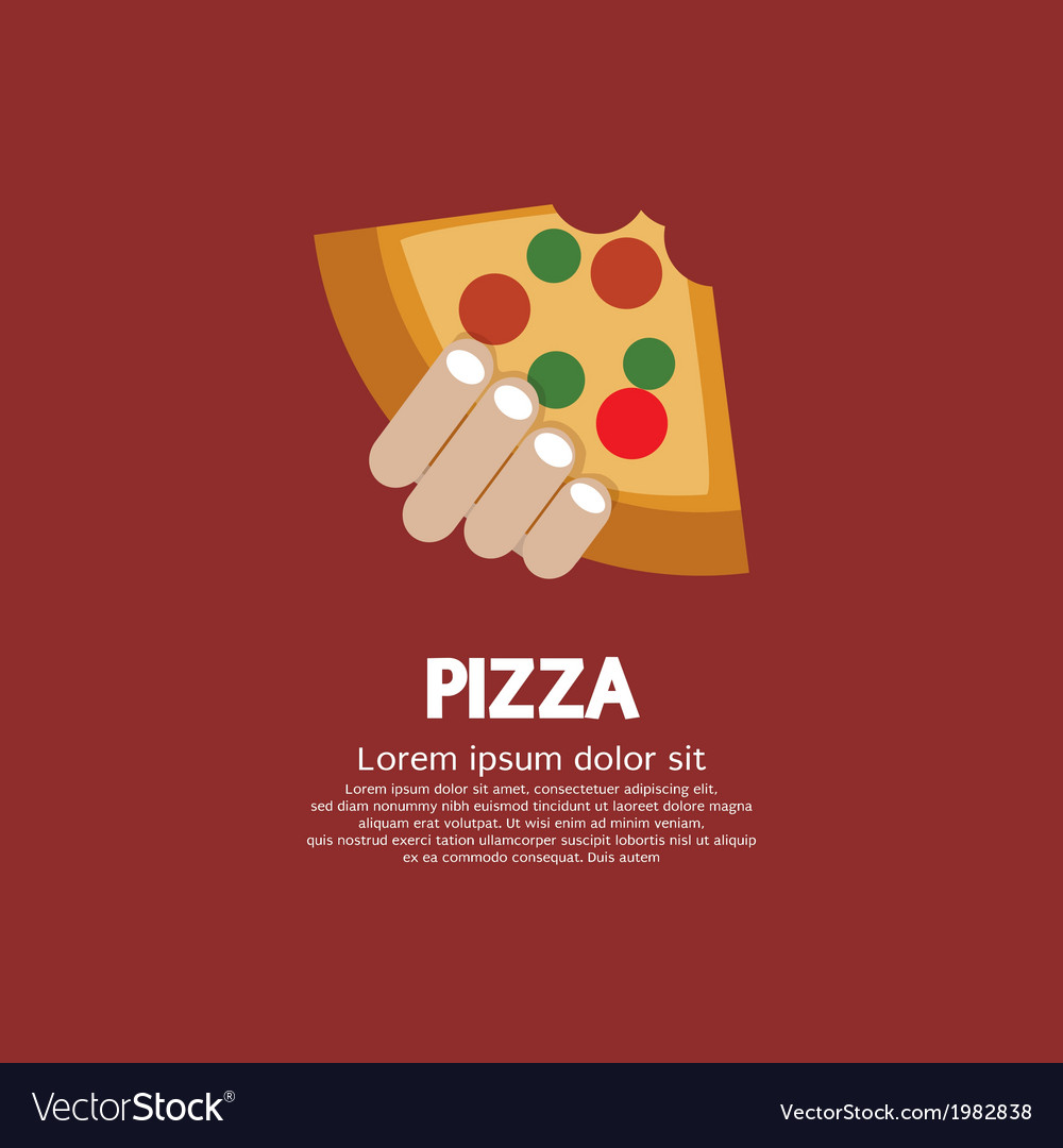 Piece of pizza in hand vector | Price: 1 Credit (USD $1)