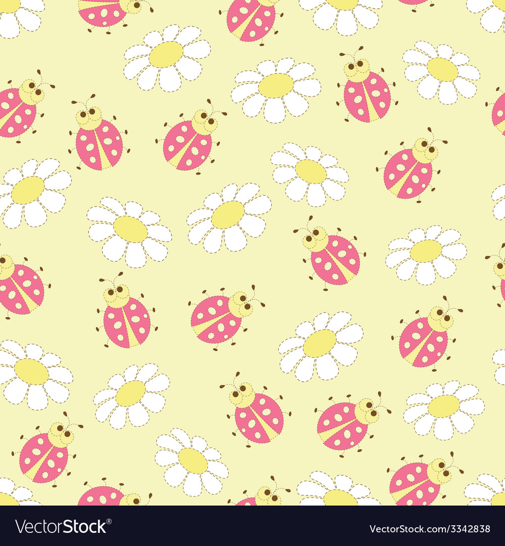 Seamless pattern with ladybugs and daisies vector | Price: 1 Credit (USD $1)
