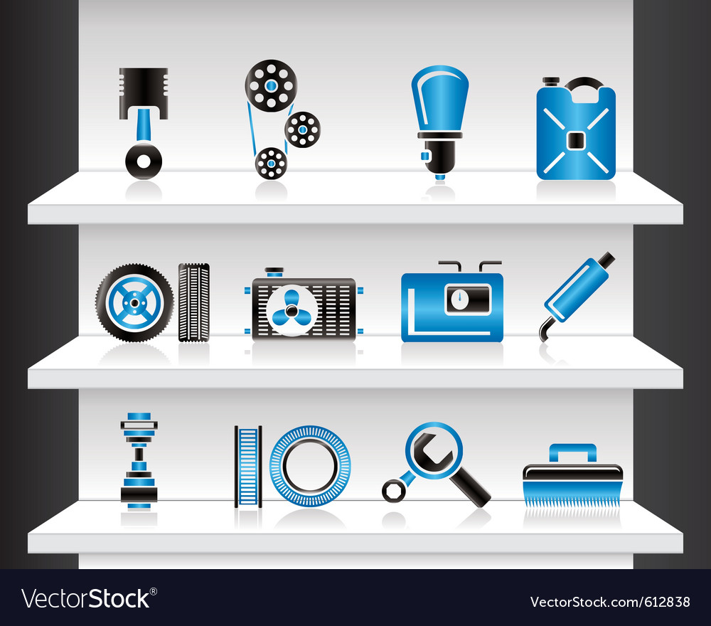 Shelf with car parts vector | Price: 3 Credit (USD $3)