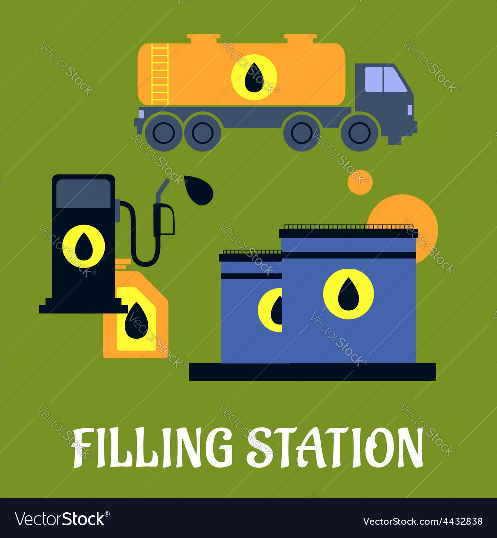 Storage transportation and filling station icons vector | Price: 1 Credit (USD $1)