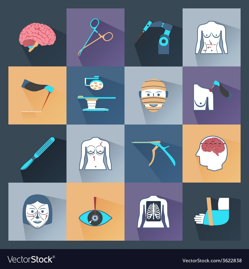 Surgery icons flat vector | Price: 1 Credit (USD $1)