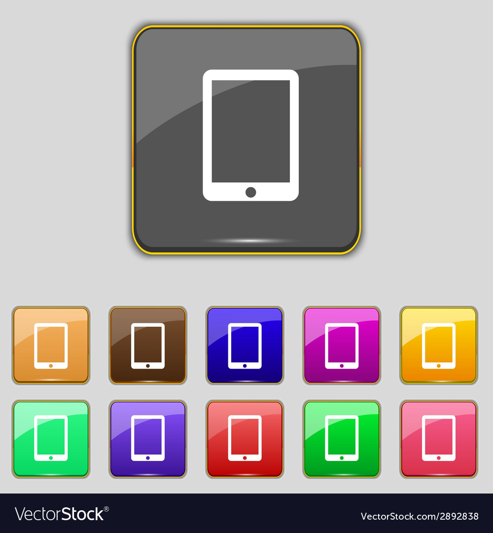 Tablet sign icon smartphone button set colur vector | Price: 1 Credit (USD $1)