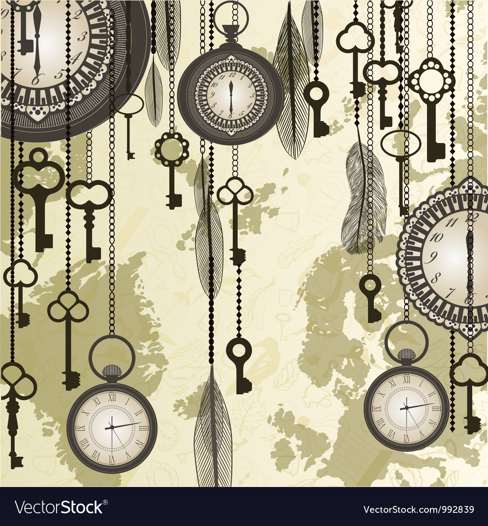 Antique background with grungy map and clocks vector | Price: 1 Credit (USD $1)
