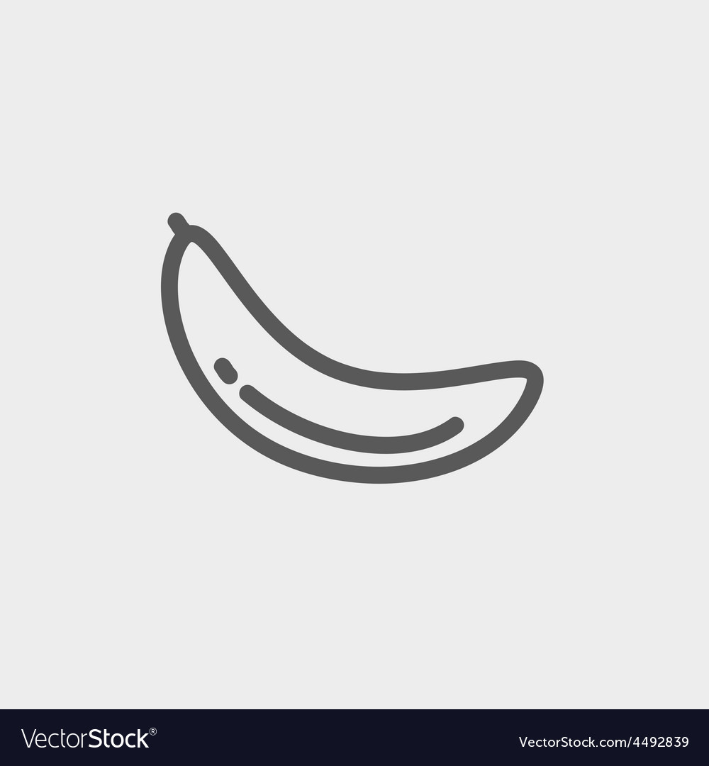 Banana fruit thin line icon vector | Price: 1 Credit (USD $1)