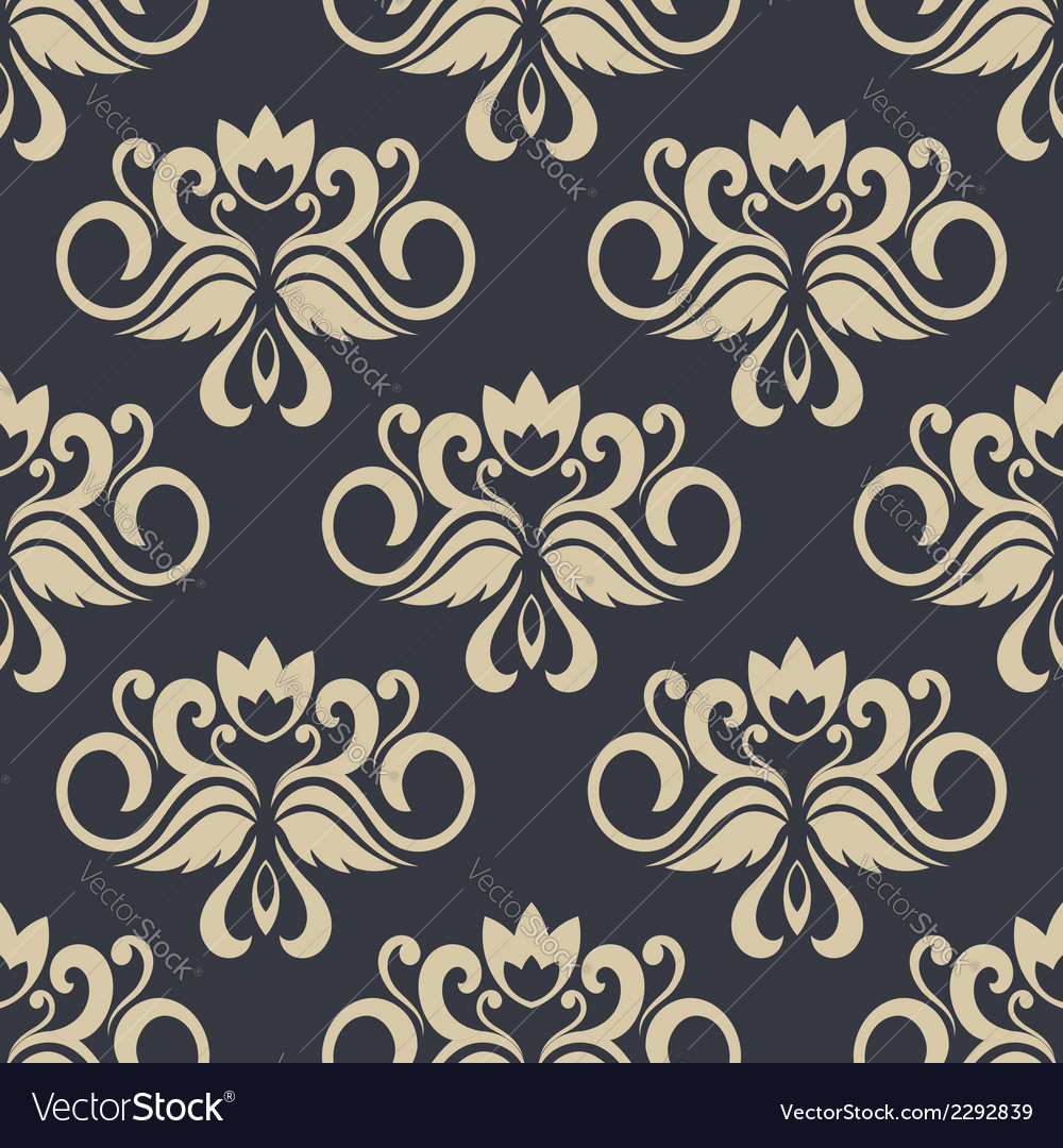 Beige colored floral seamless pattern vector | Price: 1 Credit (USD $1)