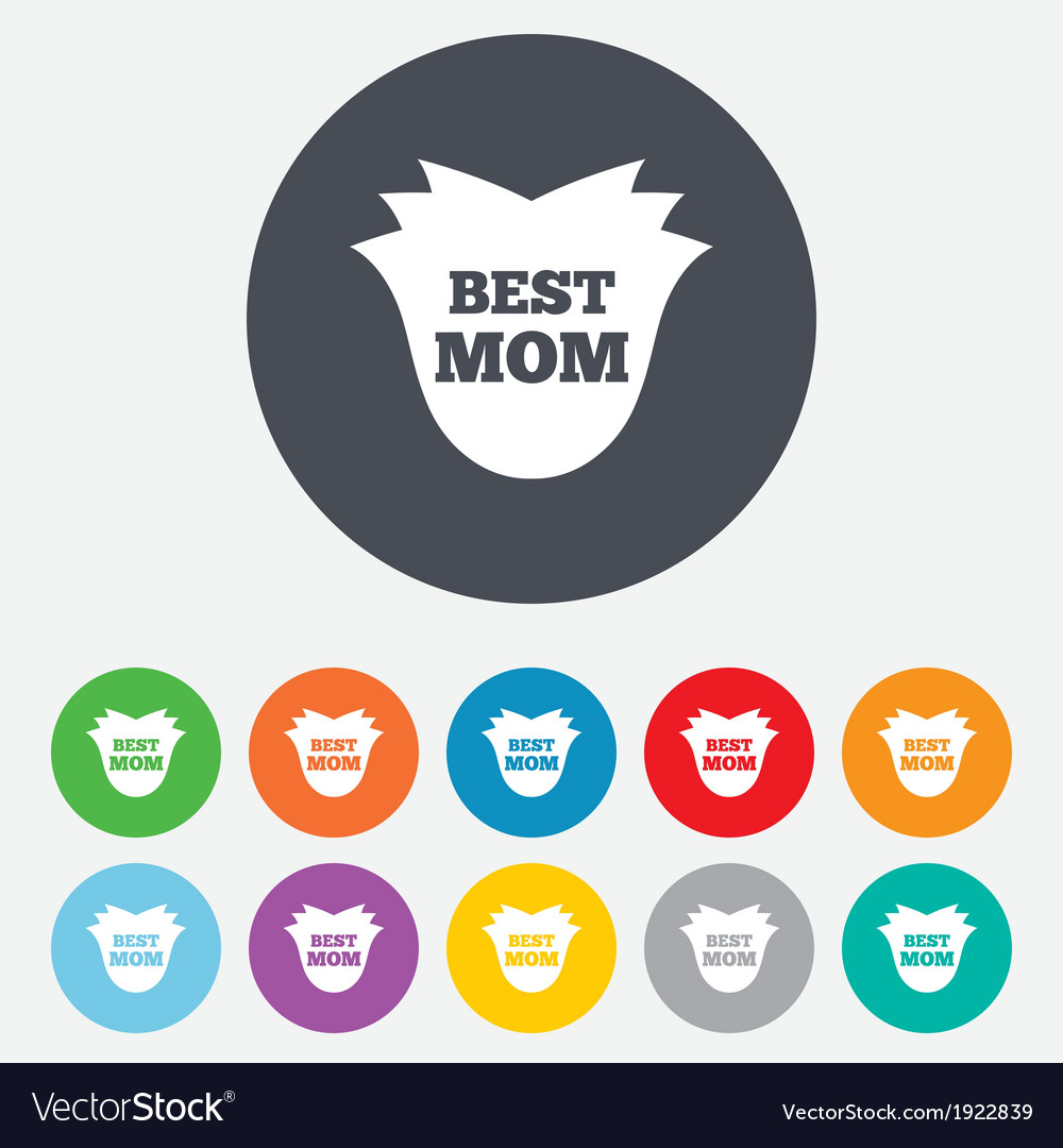 Best mom sign icon flower symbol vector | Price: 1 Credit (USD $1)