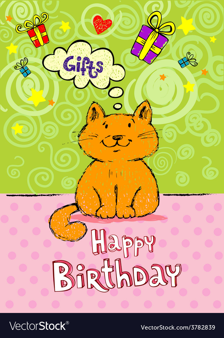 Birthday greeting card with red cat vector | Price: 1 Credit (USD $1)