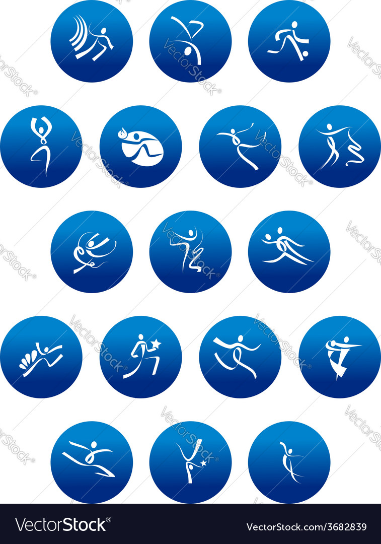 Blue round icons with white sportsman silhouettes vector | Price: 1 Credit (USD $1)