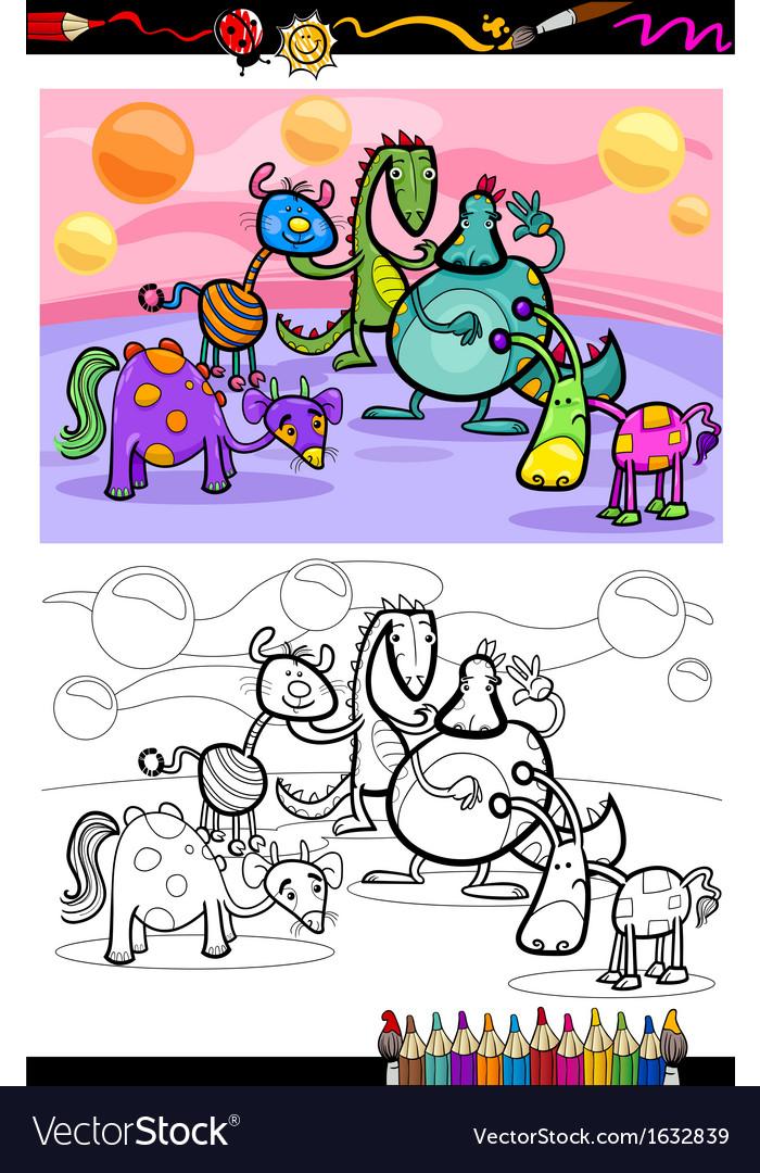 Cartoon fantasy group coloring page vector | Price: 1 Credit (USD $1)