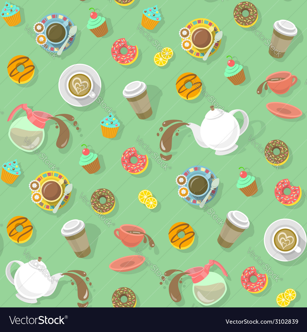 Coffee and tea pattern vector | Price: 1 Credit (USD $1)