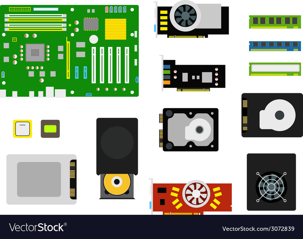 Different computer devices collection vector | Price: 1 Credit (USD $1)