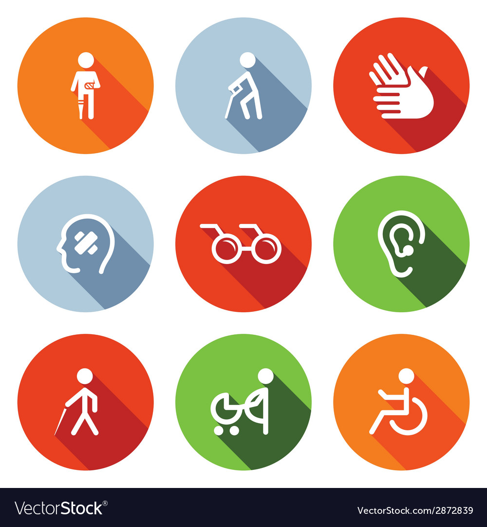 Disability flat icons set vector | Price: 1 Credit (USD $1)