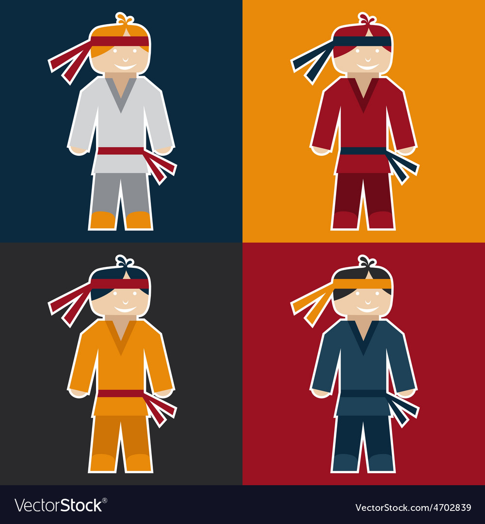 Flat sticker of karate man vector | Price: 1 Credit (USD $1)