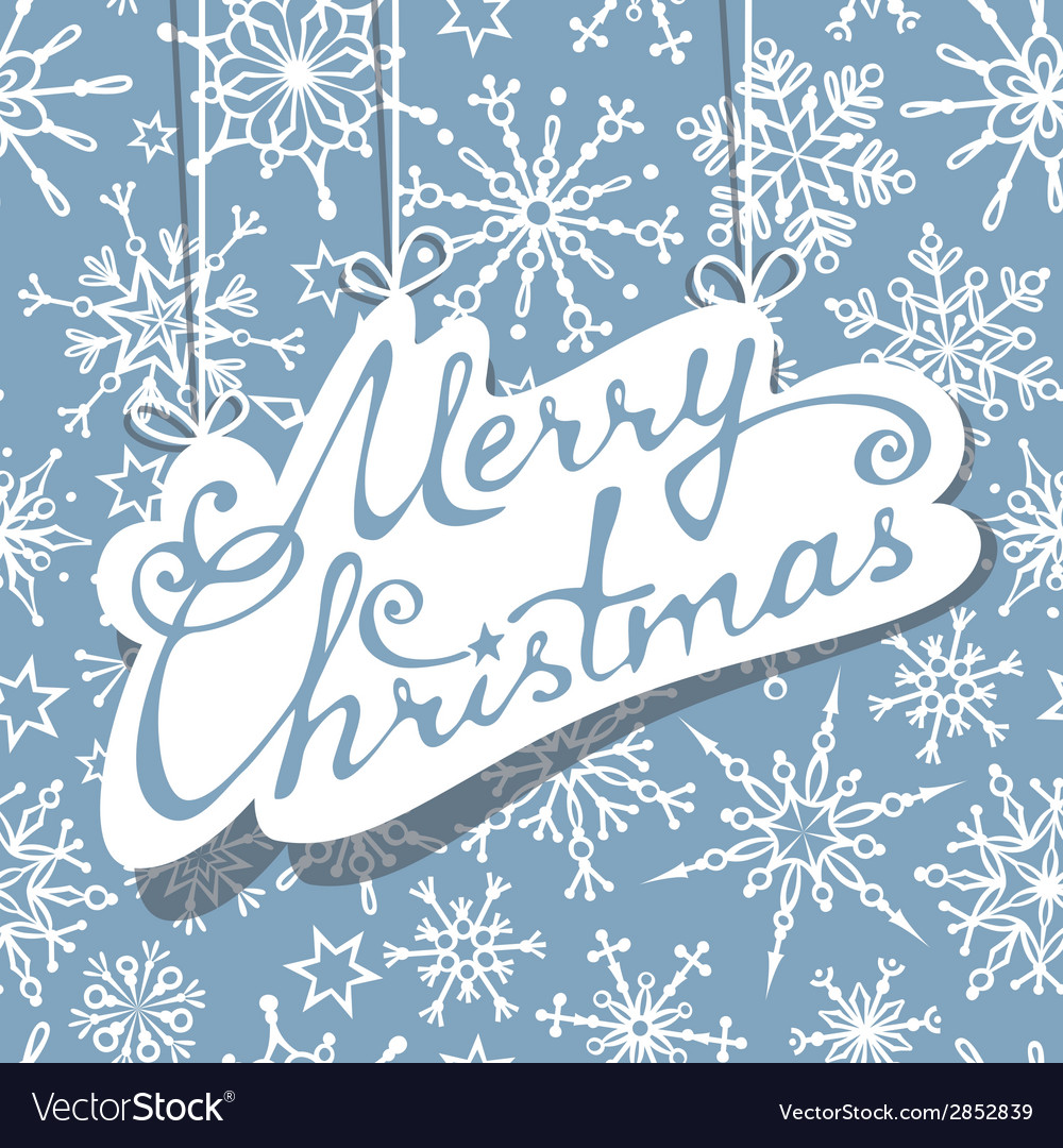 Hanging text merry christmas on blue background vector | Price: 1 Credit (USD $1)