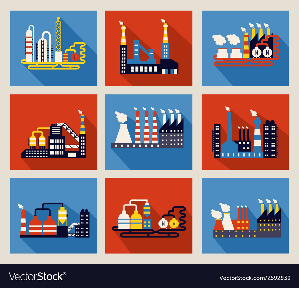 Industrial factory buildings and refineries vector | Price: 1 Credit (USD $1)