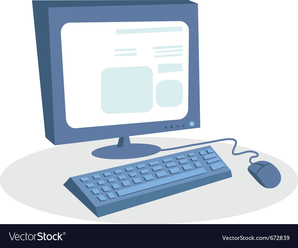 Monitor keyboard and mouse desktop computer vector | Price: 1 Credit (USD $1)