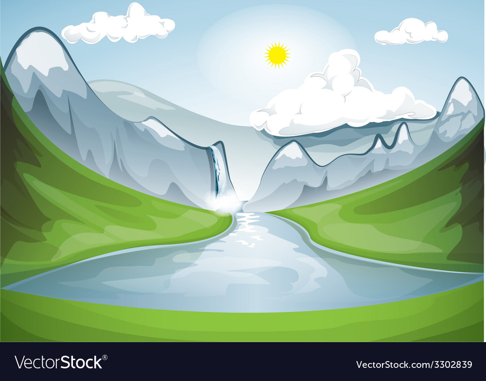 Mountain valley in a sunny day vector | Price: 1 Credit (USD $1)
