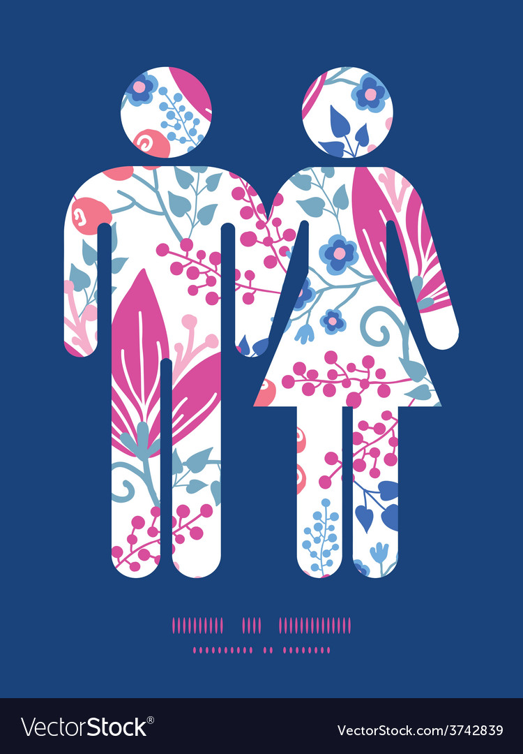 Pink flowers couple in love silhouettes vector   Price: 1 Credit (USD $1)