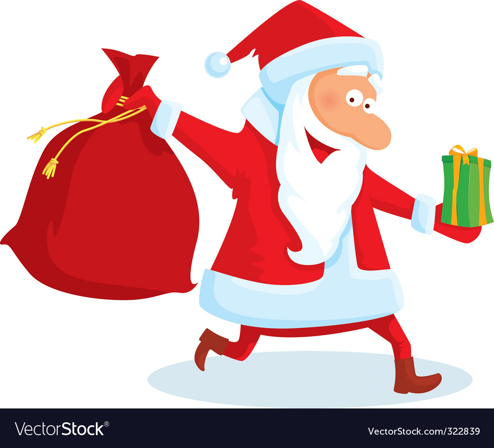 Santa with a bag and gifts vector | Price: 1 Credit (USD $1)