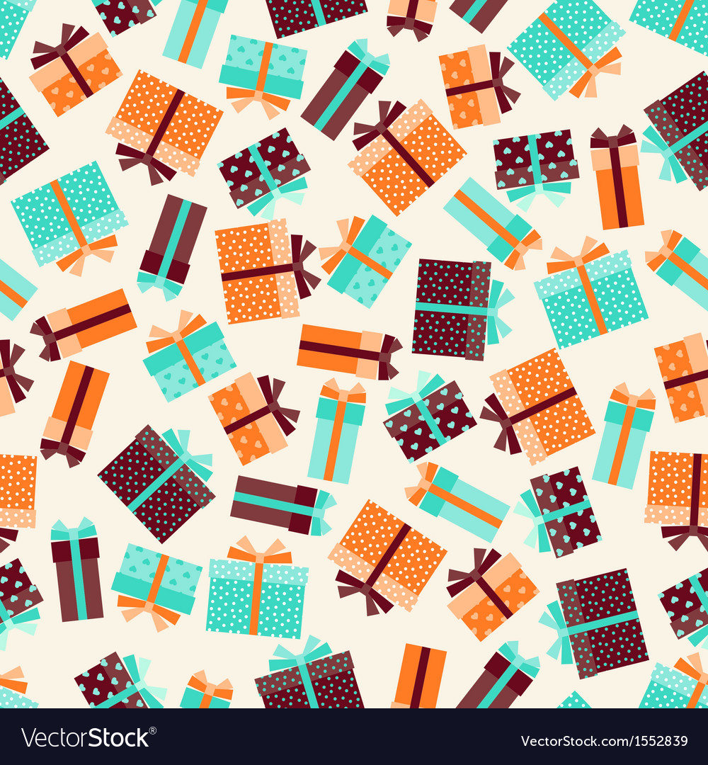 Seamless pattern with gift boxes in retro style vector | Price: 1 Credit (USD $1)