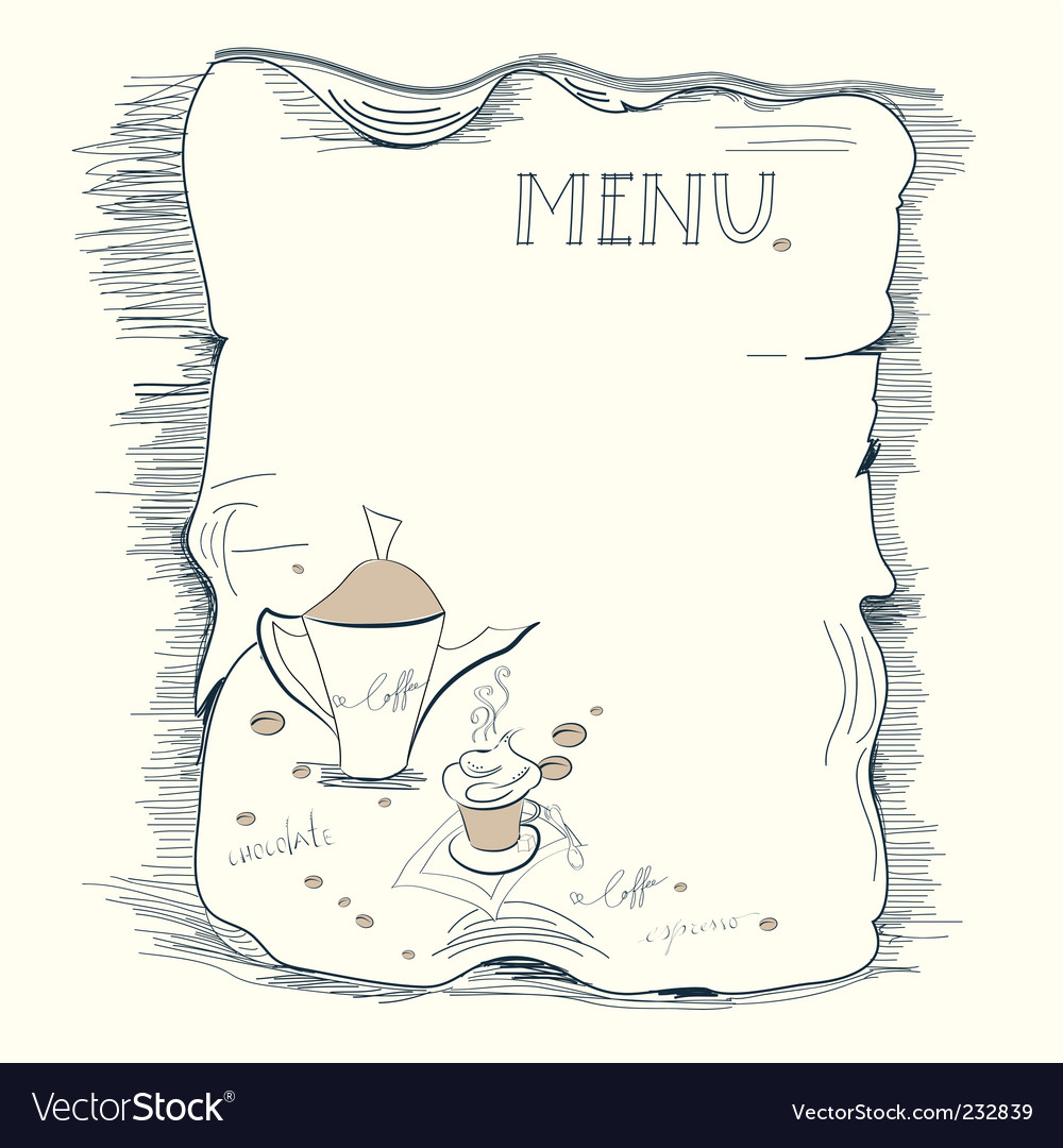 Template for coffee menu vector