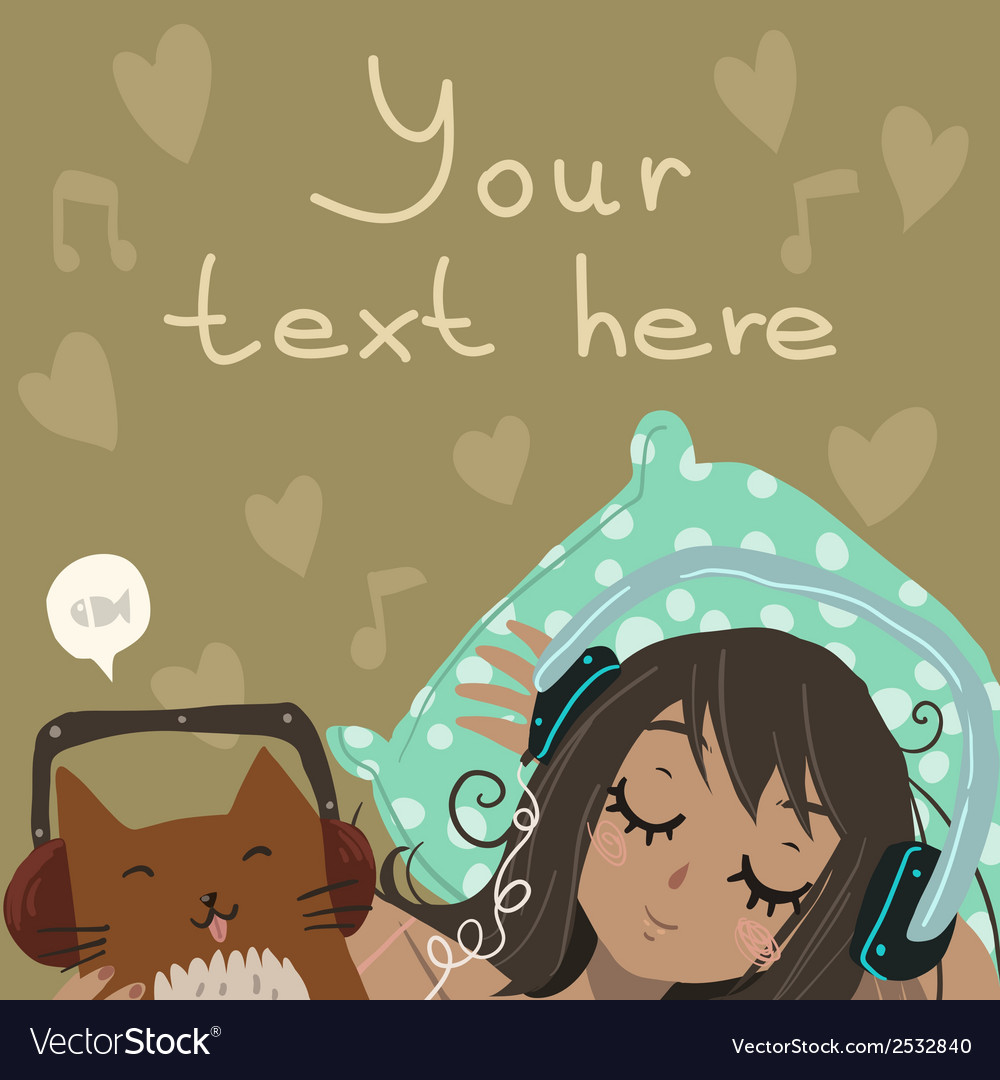 Cartoon flat relax and listen to the music vector | Price: 1 Credit (USD $1)