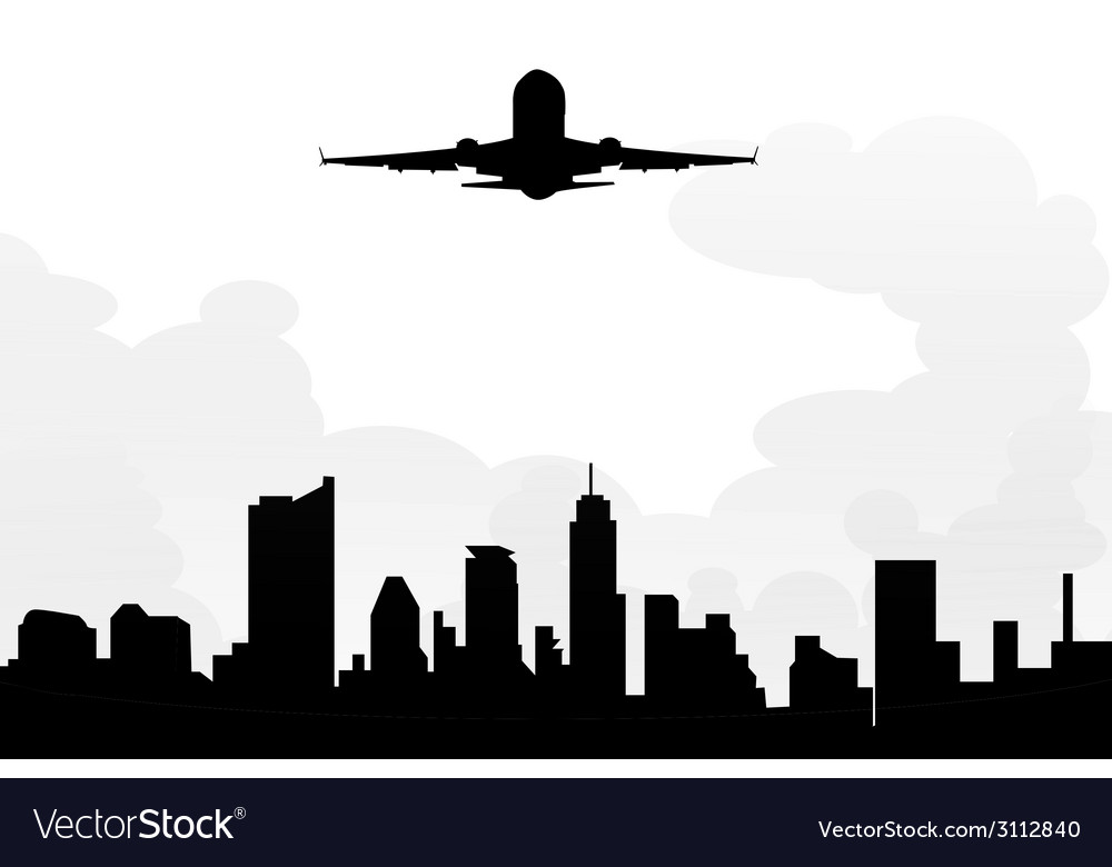 Cityscape and morning flight vector | Price: 1 Credit (USD $1)