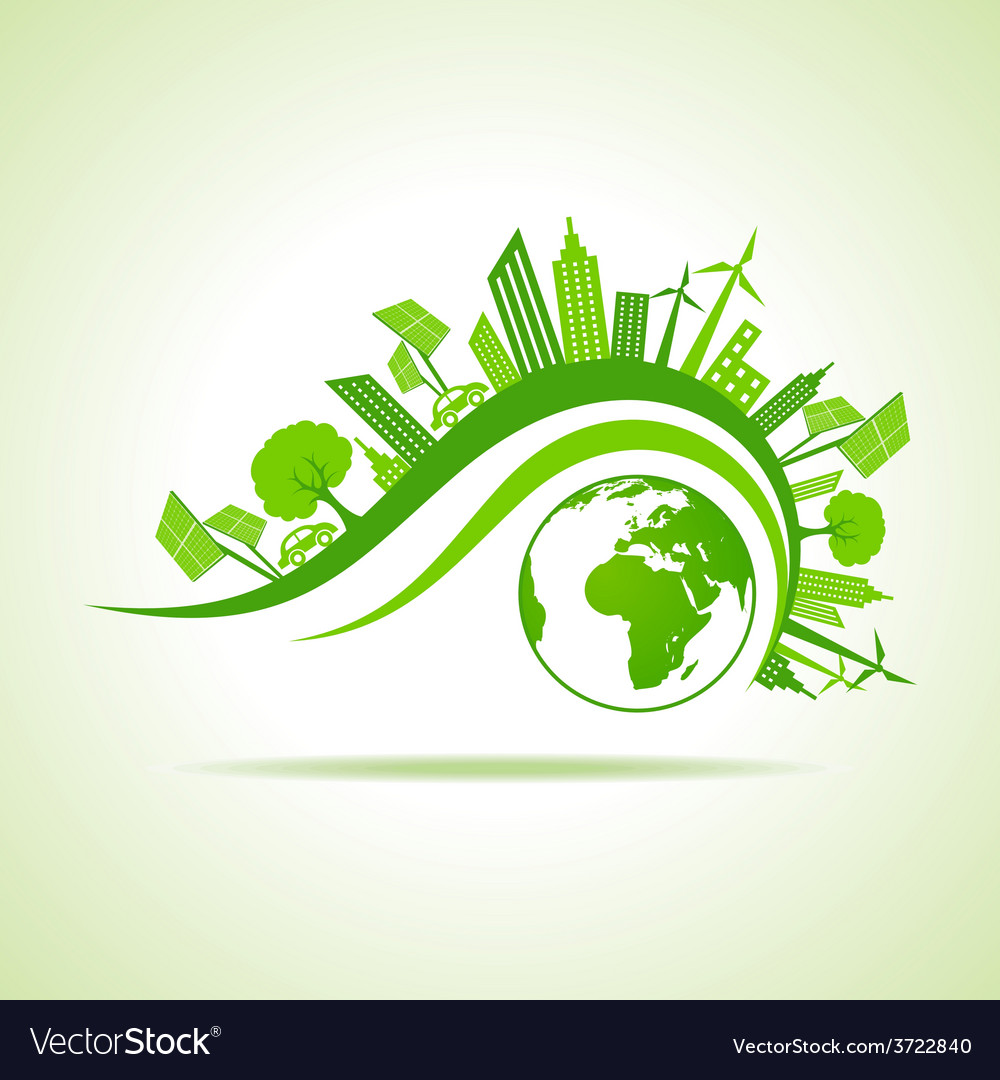 Ecology concept  eco cityscape with earth vector