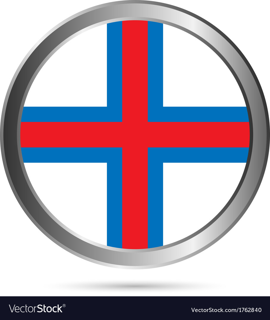 Faroe islands flag button vector | Price: 1 Credit (USD $1)