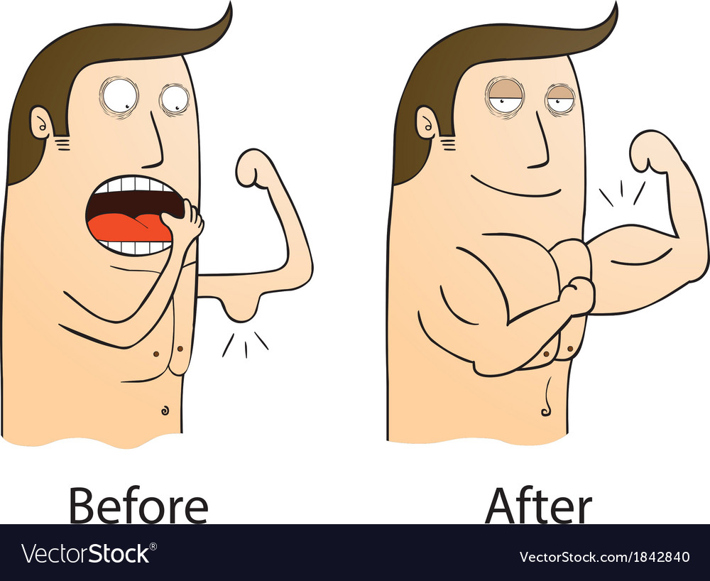 Gym before and after cartoon vector | Price: 1 Credit (USD $1)