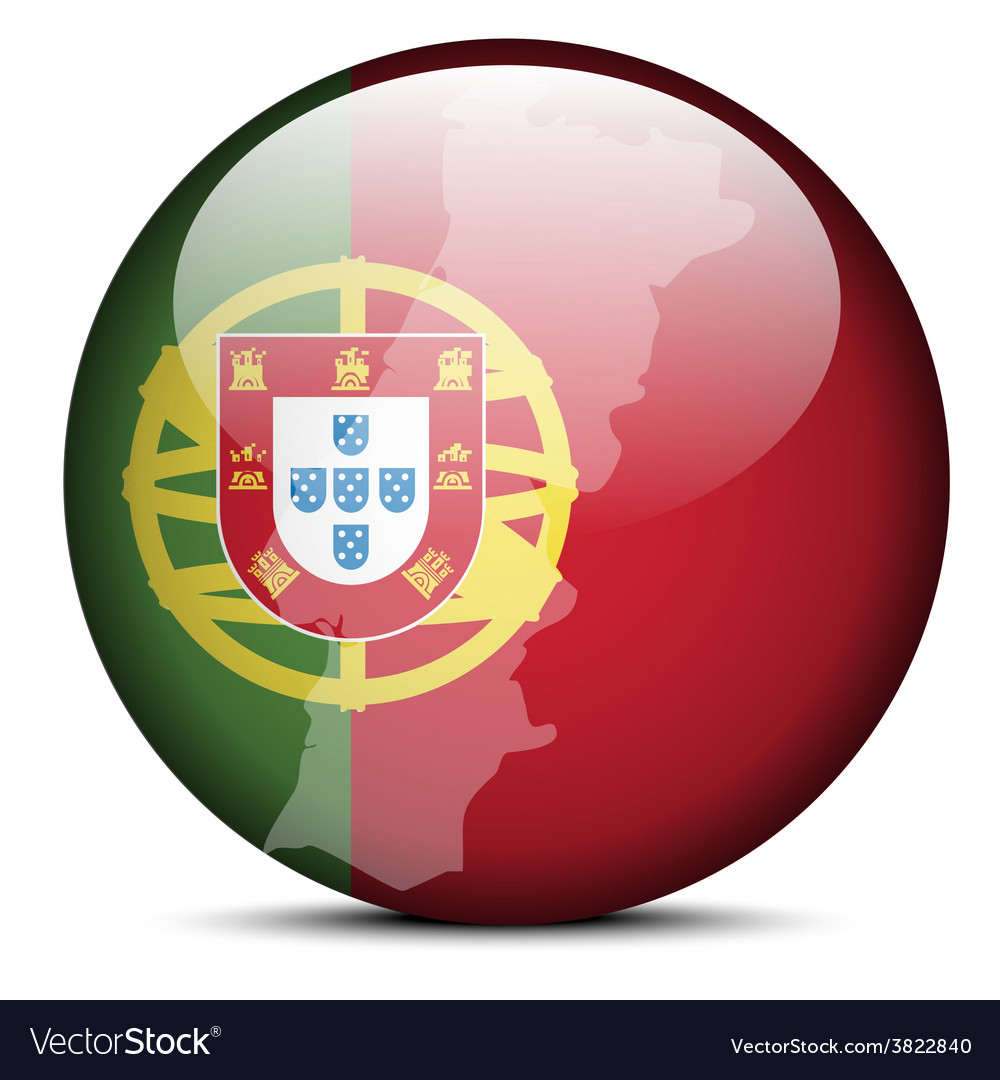 Map on flag button of portuguese republic portugal vector | Price: 1 Credit (USD $1)