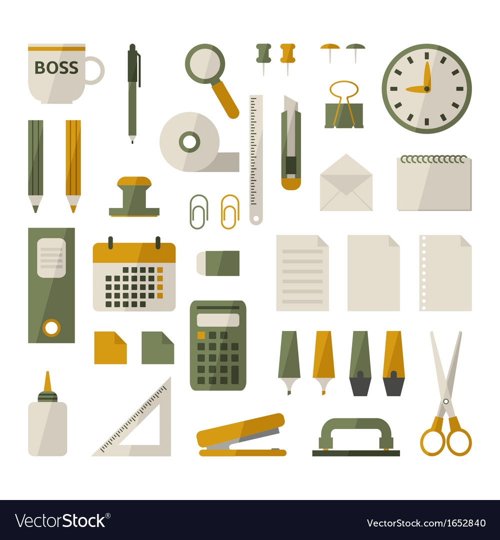 Office stationery set vector | Price: 1 Credit (USD $1)