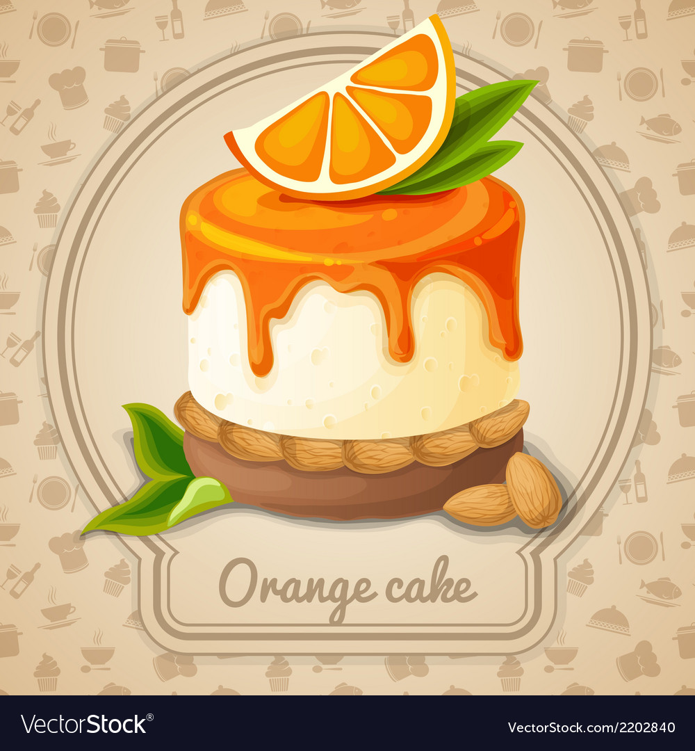 Orange cake emblem vector | Price: 1 Credit (USD $1)