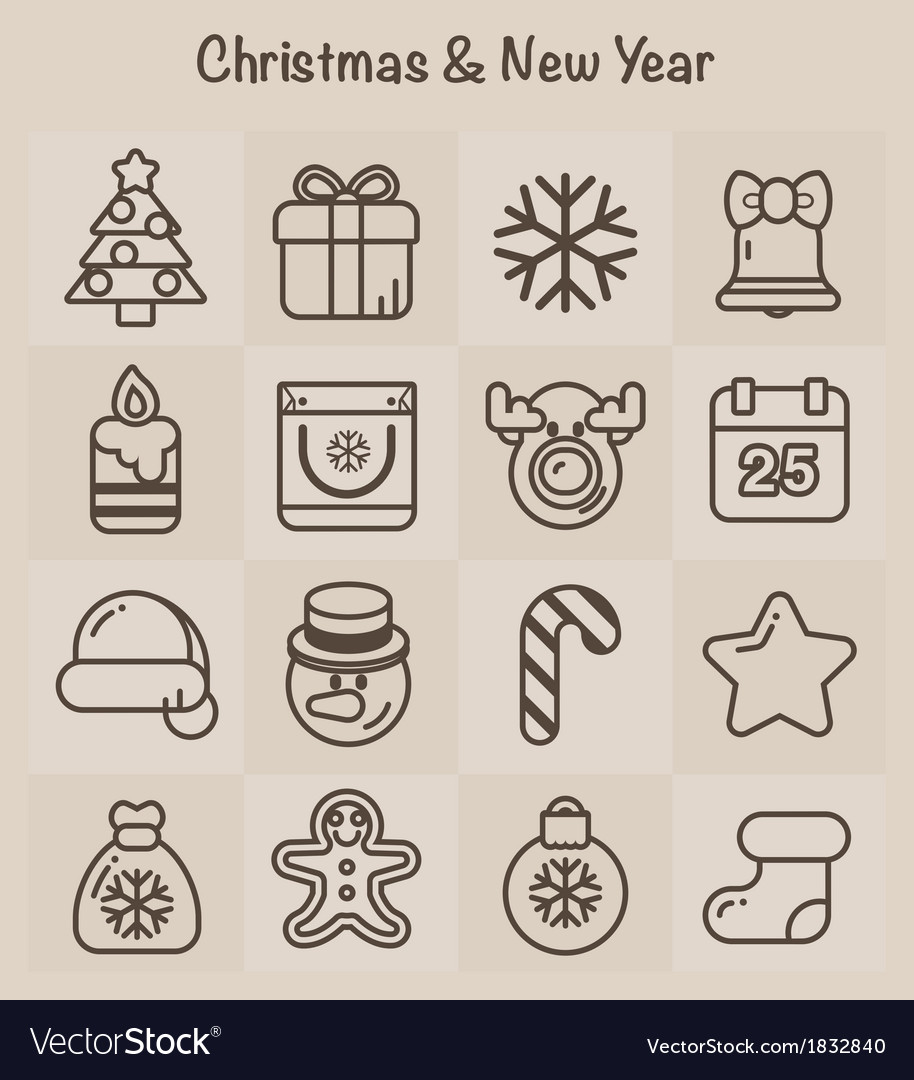 Outline icons christmas and new year vector | Price: 1 Credit (USD $1)