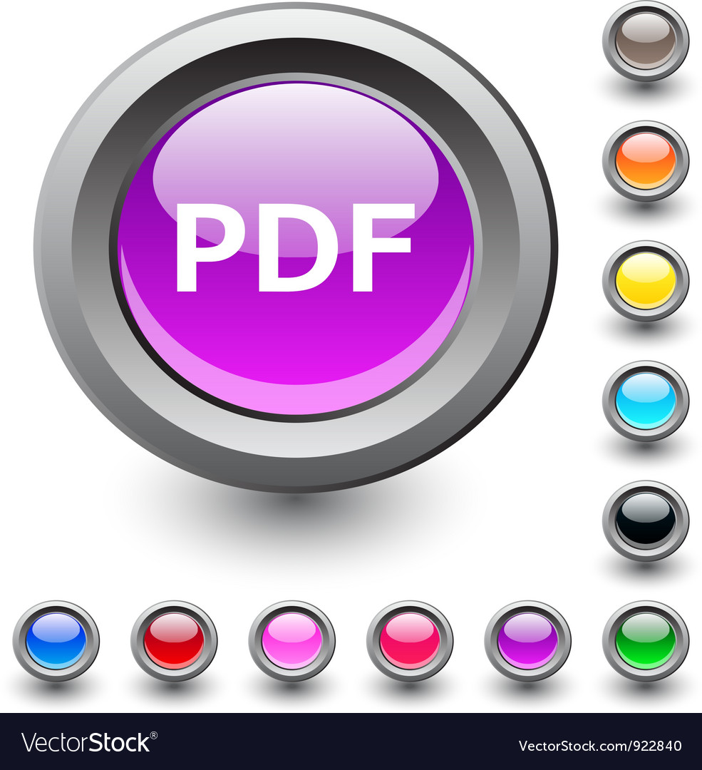 Pdf round button vector | Price: 1 Credit (USD $1)
