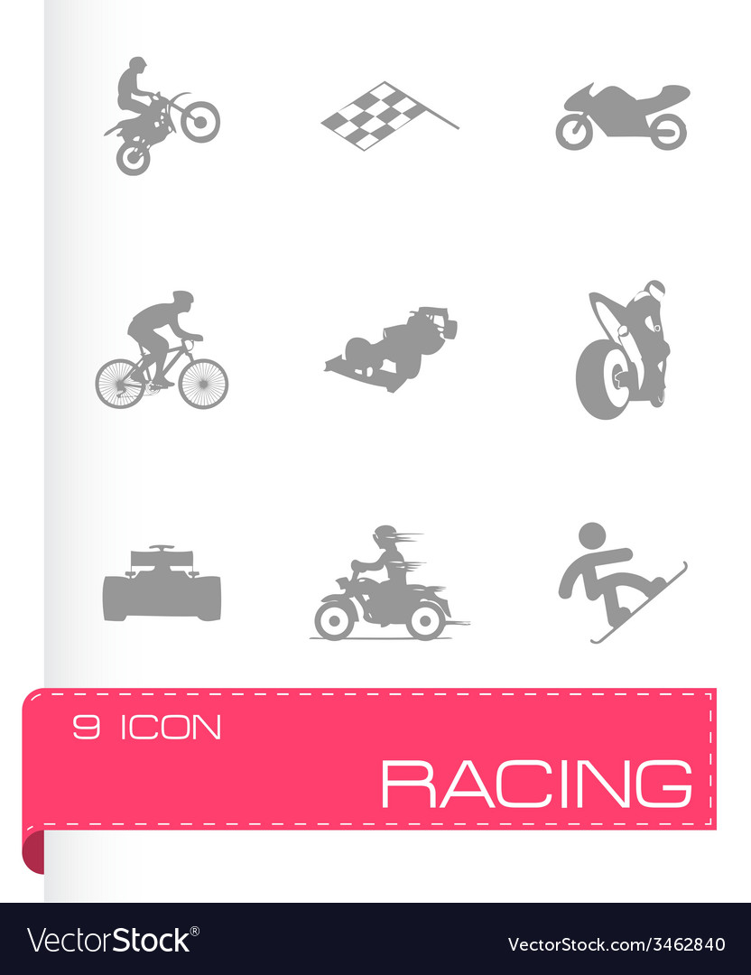 Racing icons set vector | Price: 1 Credit (USD $1)