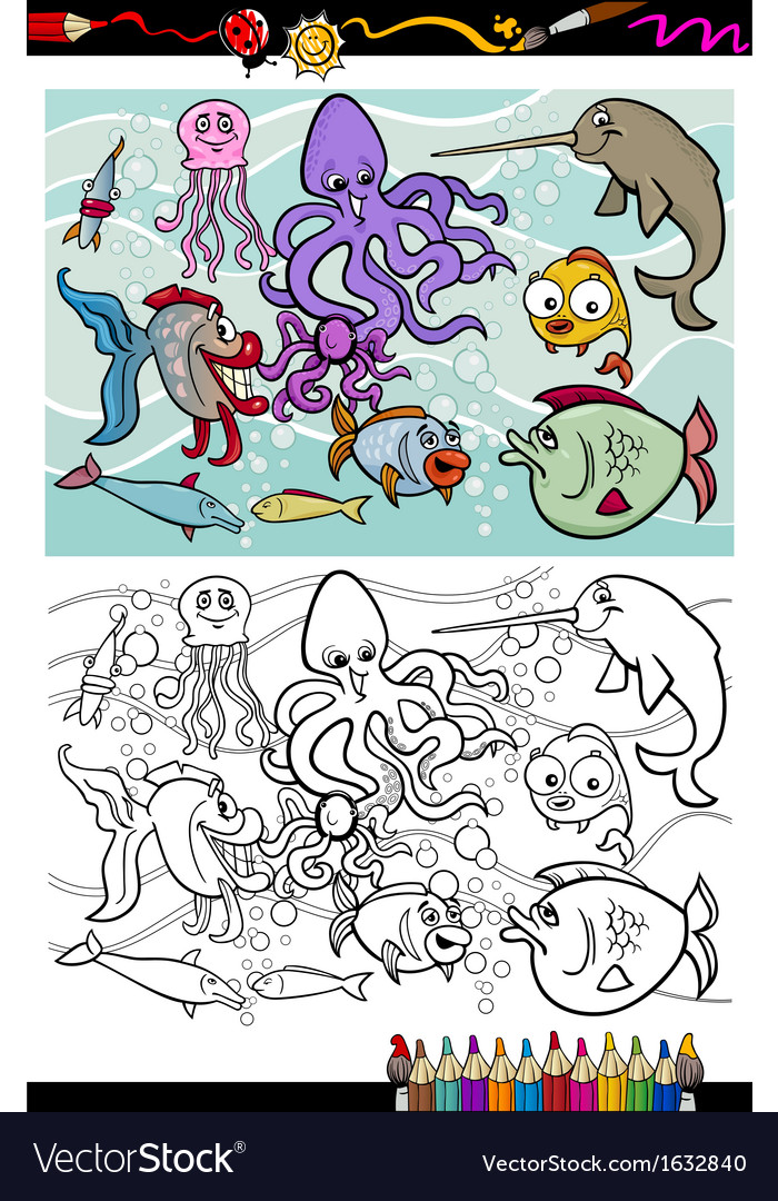 Sea life animals group coloring book vector | Price: 1 Credit (USD $1)
