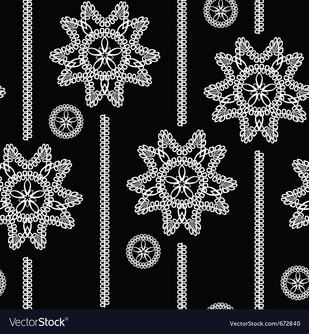 Seamless monochrome background with white lace flo vector | Price: 1 Credit (USD $1)