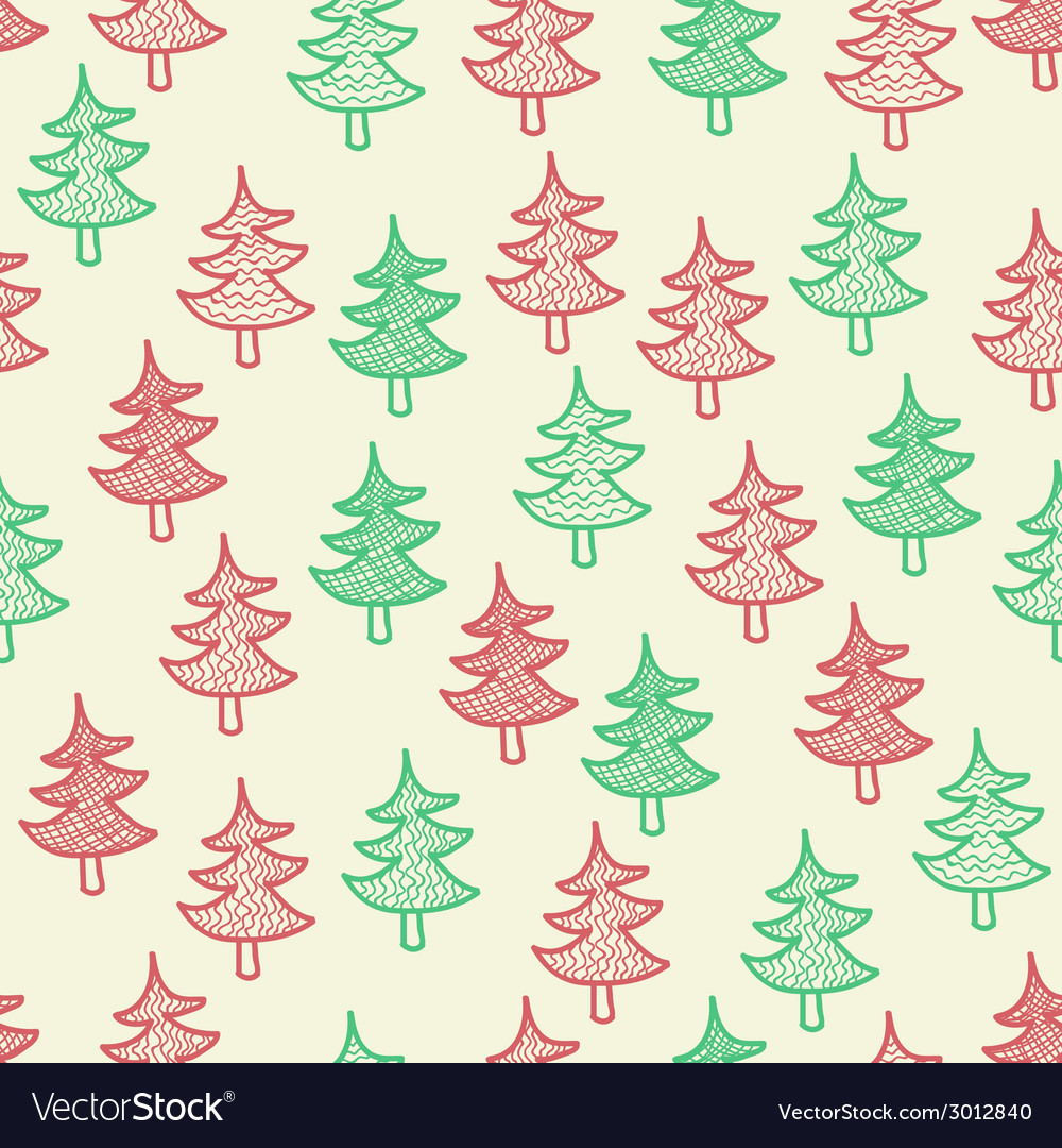 Seamless texture with christmas trees vector | Price: 1 Credit (USD $1)