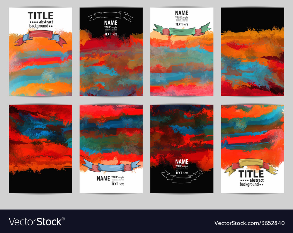 Set abstract painted background with vector | Price: 1 Credit (USD $1)