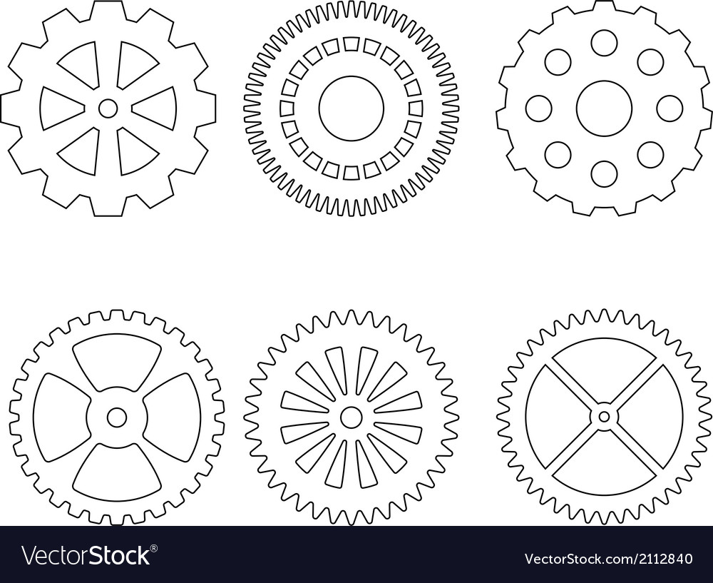 Set of gears icons vector | Price: 1 Credit (USD $1)