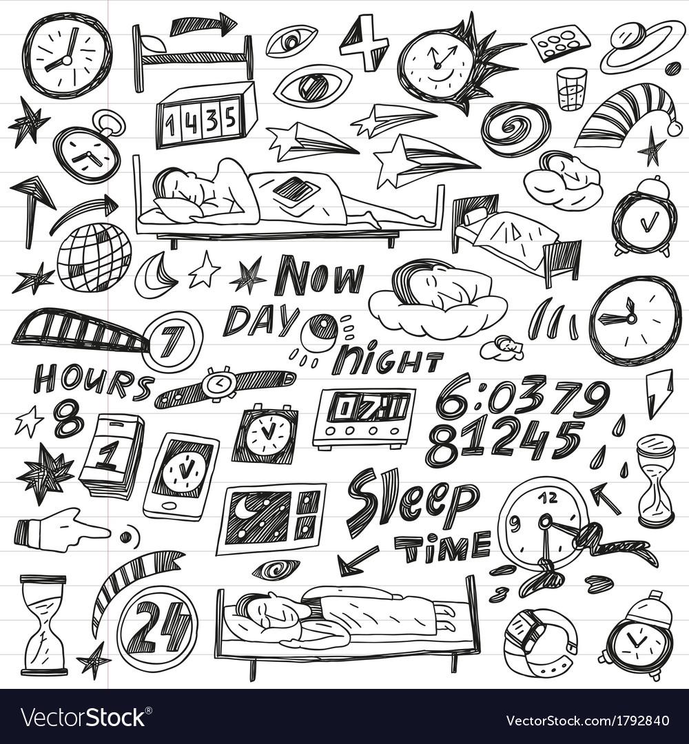 Sleep time - doodles set vector | Price: 1 Credit (USD $1)