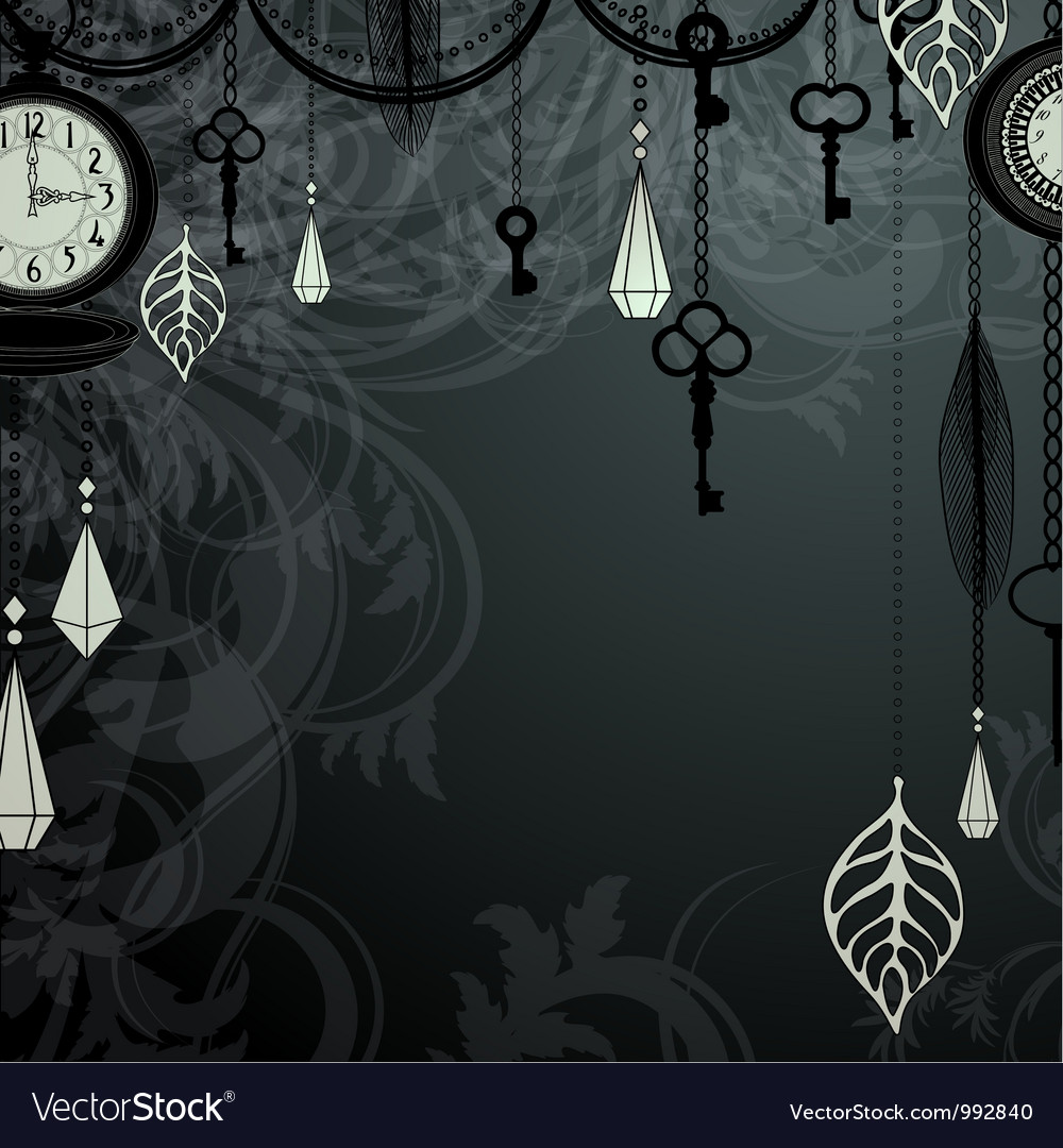 Vintage dark background with antique clocks and vector | Price: 1 Credit (USD $1)