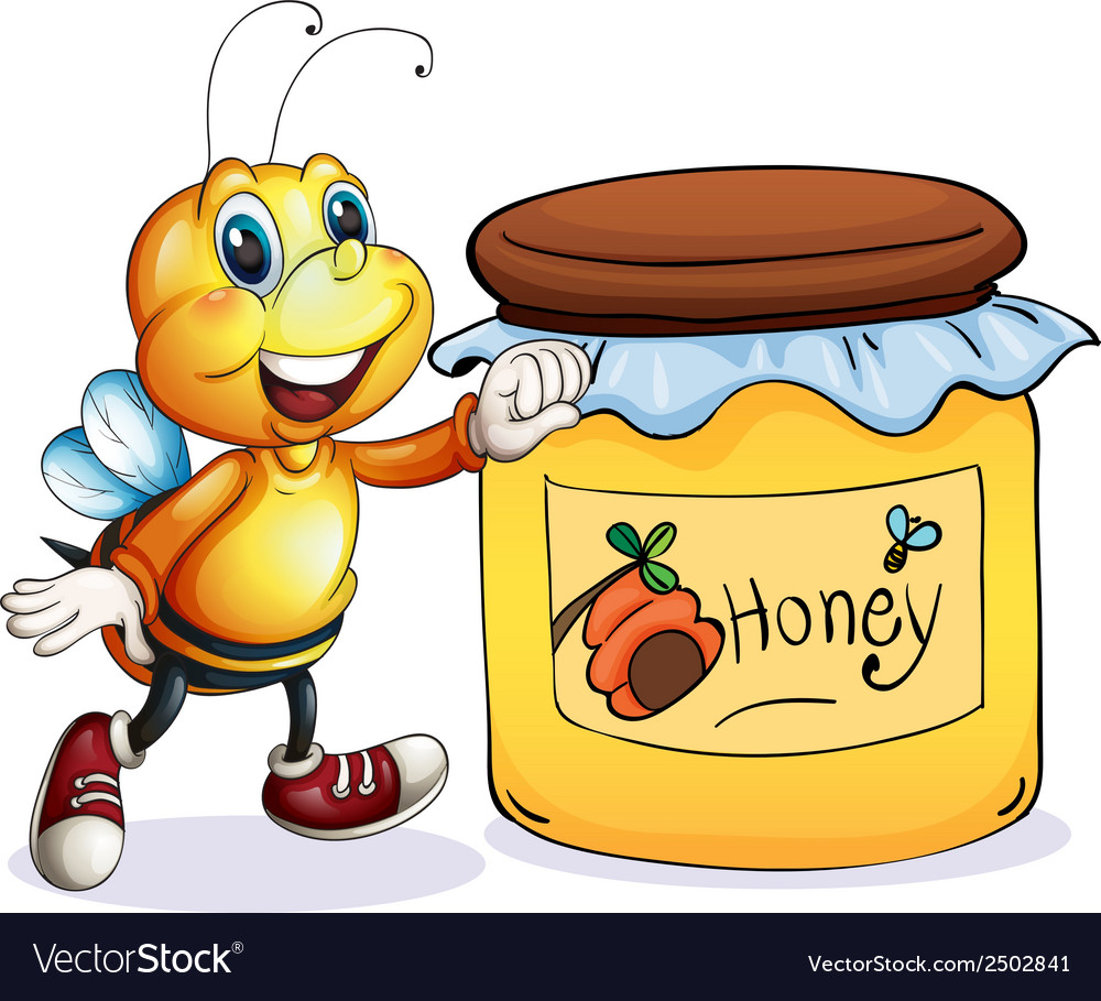 A bee beside the jar of honey vector | Price: 1 Credit (USD $1)
