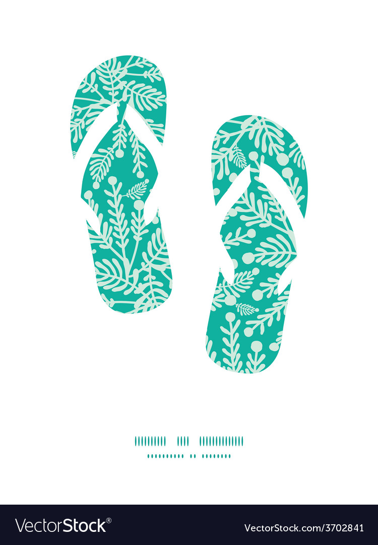 Emerald green plants flip flops silhouettes vector | Price: 1 Credit (USD $1)