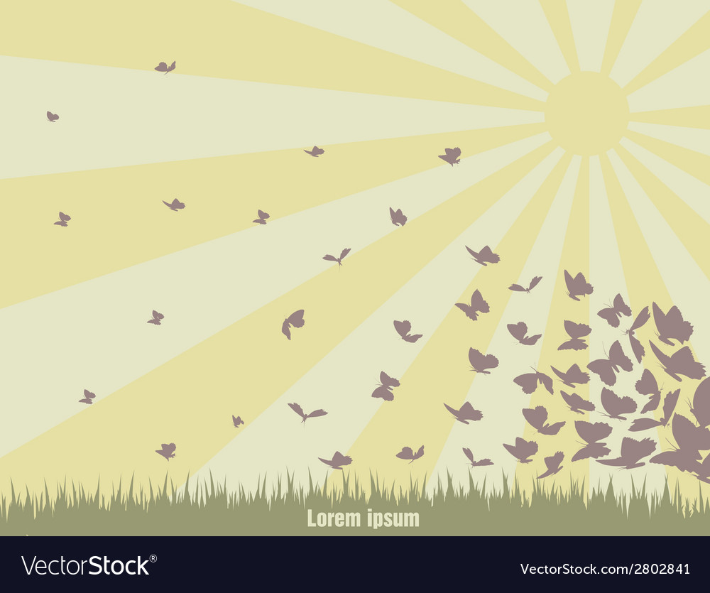 Flying butterflies on a green landscape vector | Price: 1 Credit (USD $1)