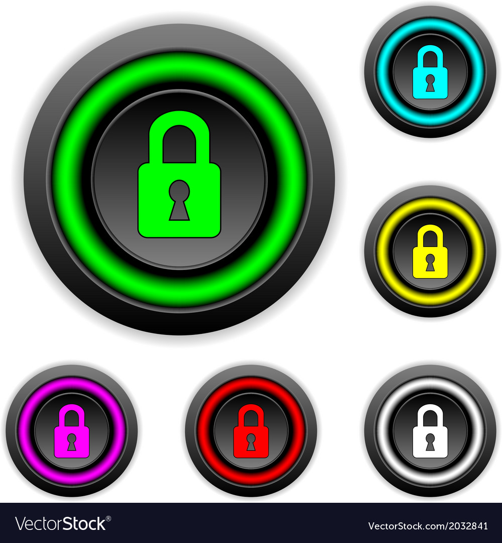 Lock buttons set vector | Price: 1 Credit (USD $1)