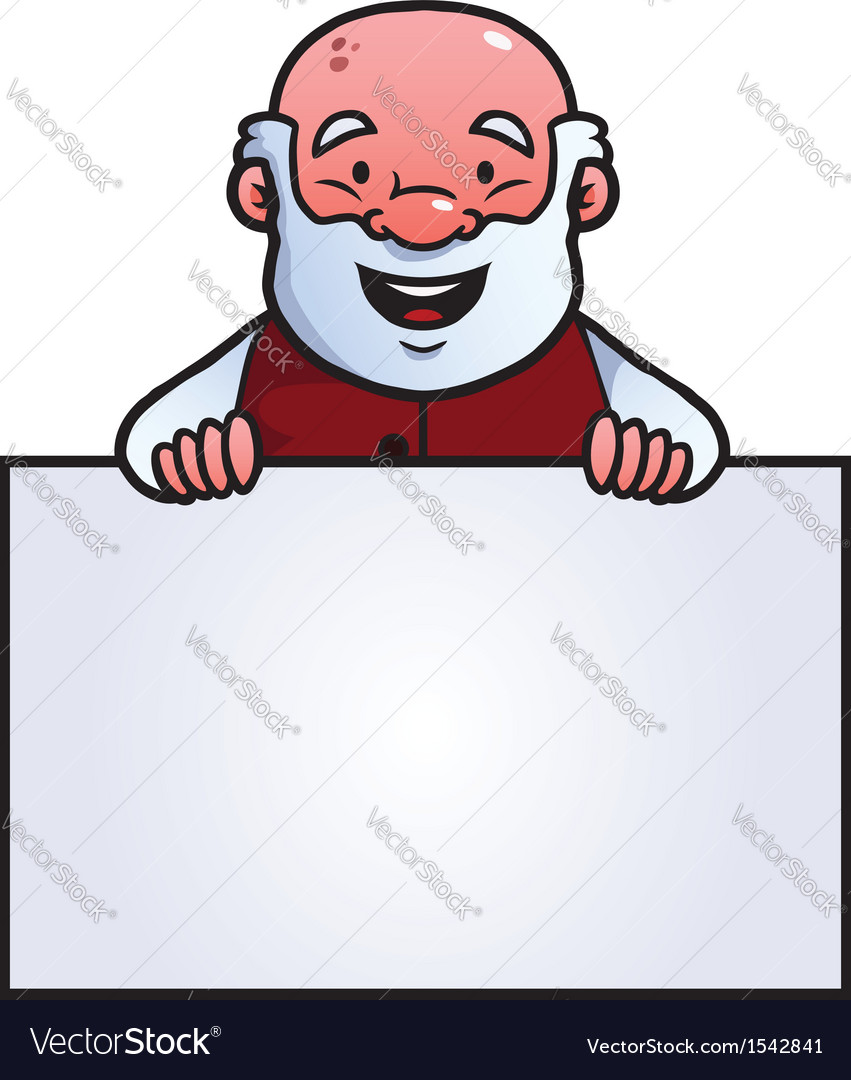 Old man holding a blank sign vector | Price: 1 Credit (USD $1)