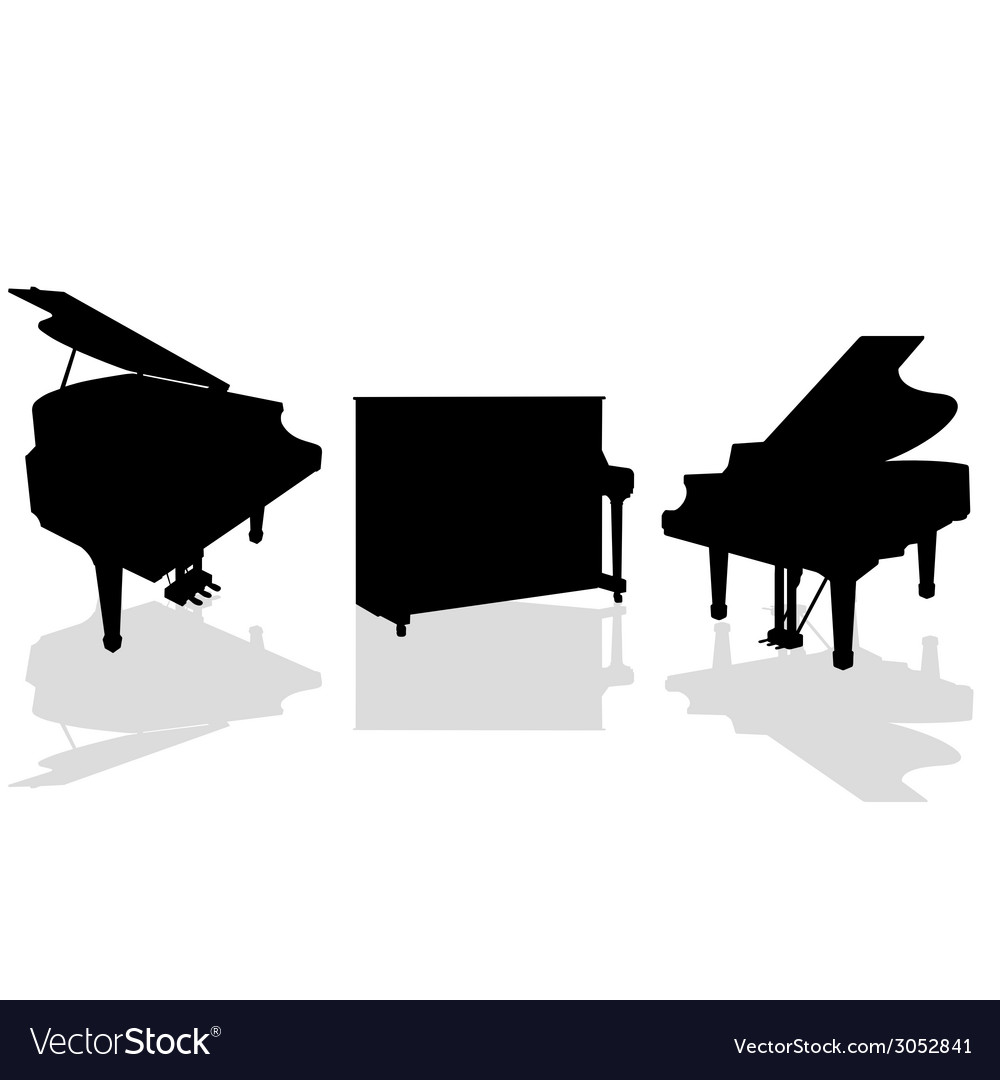 Piano three black vector | Price: 1 Credit (USD $1)